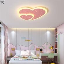 Simple Modern Pink Heart-shaped Led Ceiling Lamp Decor Wedding Marriage Bedroom Girls Room Princess Romantic Luminaria