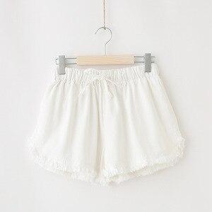 Image 4 - Базовые потертые хлопковые шорты, женские однотонные широкие шорты, летние повседневные белые, черные