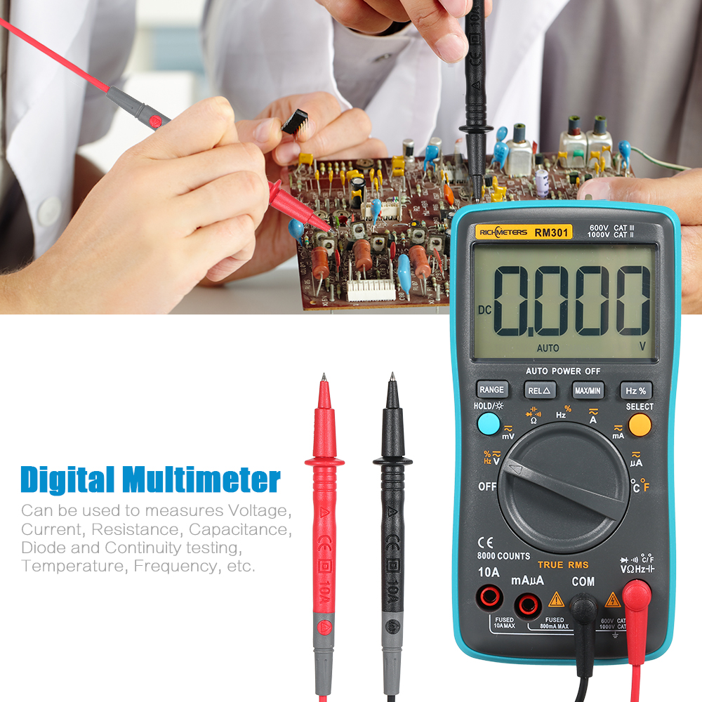 RM301 Digital Multimeter tester Portable True RMS AC DC Voltage voltmeter Ammeter Temperature capacitance meter with Test Lead auto digital multimeter 6000counts backlight ac dc ammeter voltmeter transform ohm frequency capacitance temperature meter xj23