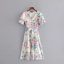 Summer Women V-Neck Bow Dress Elegant Casual Short Sleeve Printed Floral Bohomian A-Line Slim Sundress