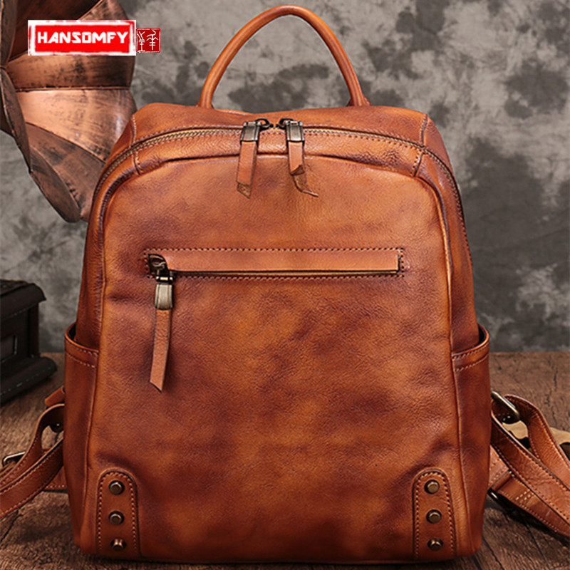 2018 new Genuine leather Women Backpacks large-capacity shoulder bag female fashion retro wild mens backpack travel bags2018 new Genuine leather Women Backpacks large-capacity shoulder bag female fashion retro wild mens backpack travel bags