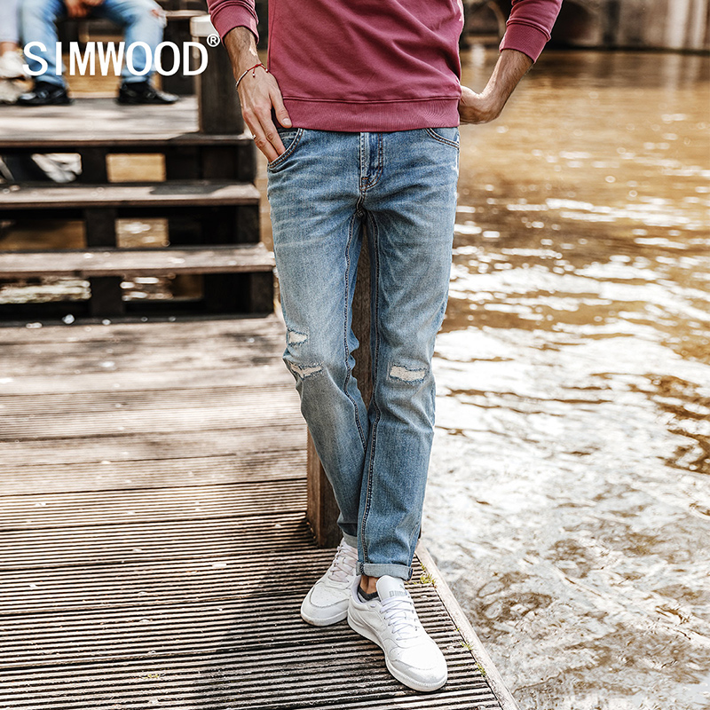 SIMWOOD 2017 Autumn New Arrival Jeans Men Patchwork  hole  Denim skinny Biker Trouser Slim Fit Plus size   High Quality SJ6086 men s cowboy jeans fashion blue jeans pant men plus sizes regular slim fit denim jean pants male high quality brand jeans