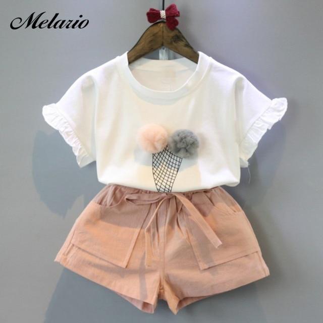 Melario בנות בגדים סטי 2019 קיץ כותנה אפוד שני חלקים ללא שרוולים ילדי סטים מקרית אופנה בנות בגדי חליפת חצאית