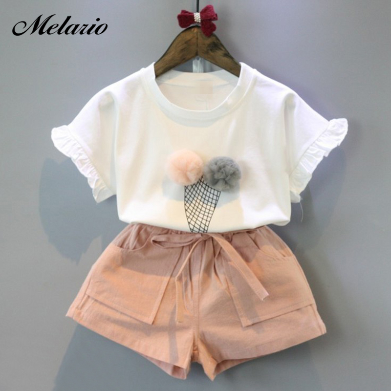 9f8ab8e93 Melario niñas conjuntos de ropa de verano de 2019 de algodón Chaleco de algodón  sin mangas de dos ...