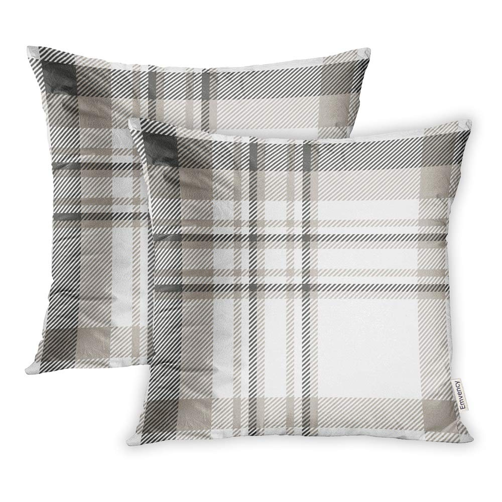 Throw Pillow Covers Print Polyester Zippered Beige Check Plaid Pattern in Dark Gray Light Taupe and White Brown|Pillow Case| |  - title=
