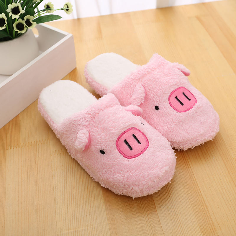 KESMALL New Arrival Women Cute Pig Home Floor Soft Stripe Slippers Female Comfortable Cotton-padded Warm Slippers Shoes WS320