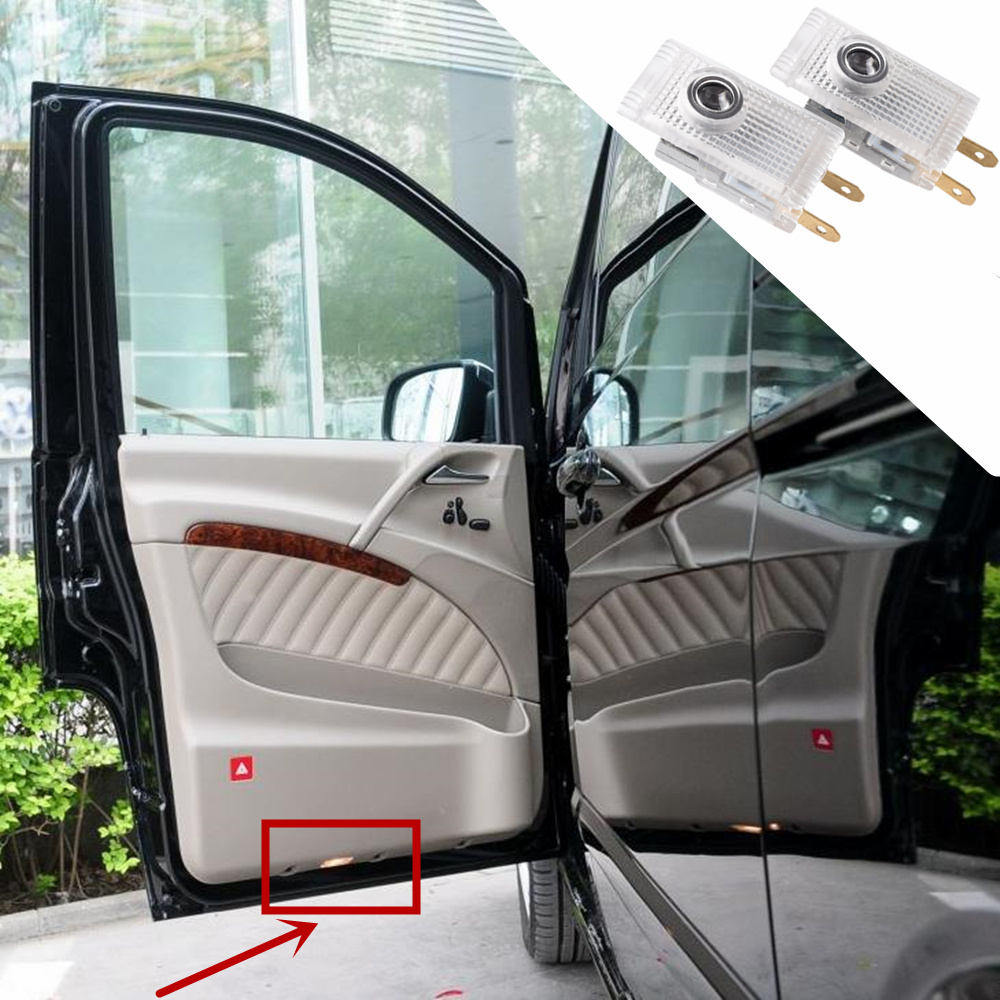 LED Car Welcome Light Door Logo Courtesy Lamp Projector Light For Mercedes Benz W210 Viano Sprinter 906 Vito W639 AMG LOGO