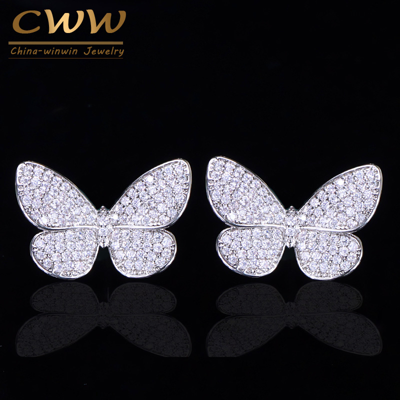 CWWZircons Lovely Trendy Micro Pave Cubic Zirconia Stud Earrings Cute Vivid Insect Butterfly Shape Fashion Ladies Jewelry CZ163CWWZircons Lovely Trendy Micro Pave Cubic Zirconia Stud Earrings Cute Vivid Insect Butterfly Shape Fashion Ladies Jewelry CZ163