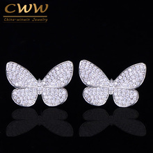 CWWZircons Lovely Trendy Micro Pave Cubic Zirconia Stud Earrings Cute Vivid Insect Butterfly Shape Fashion Ladies Jewelry CZ163