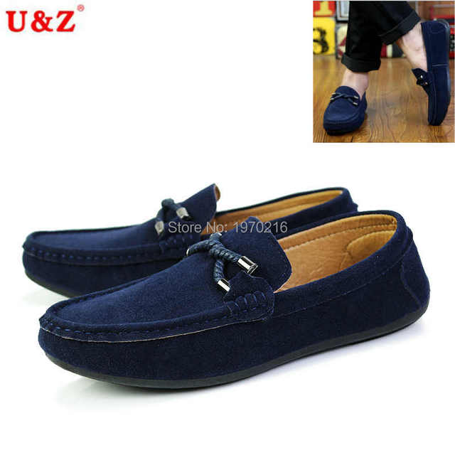 US6-10 Genuine Suede Leather Men's SLIP 0N loafers(Black/Navy/Grey),Casual driving Shoes,Moccasin men boat shoe tassel Loafers