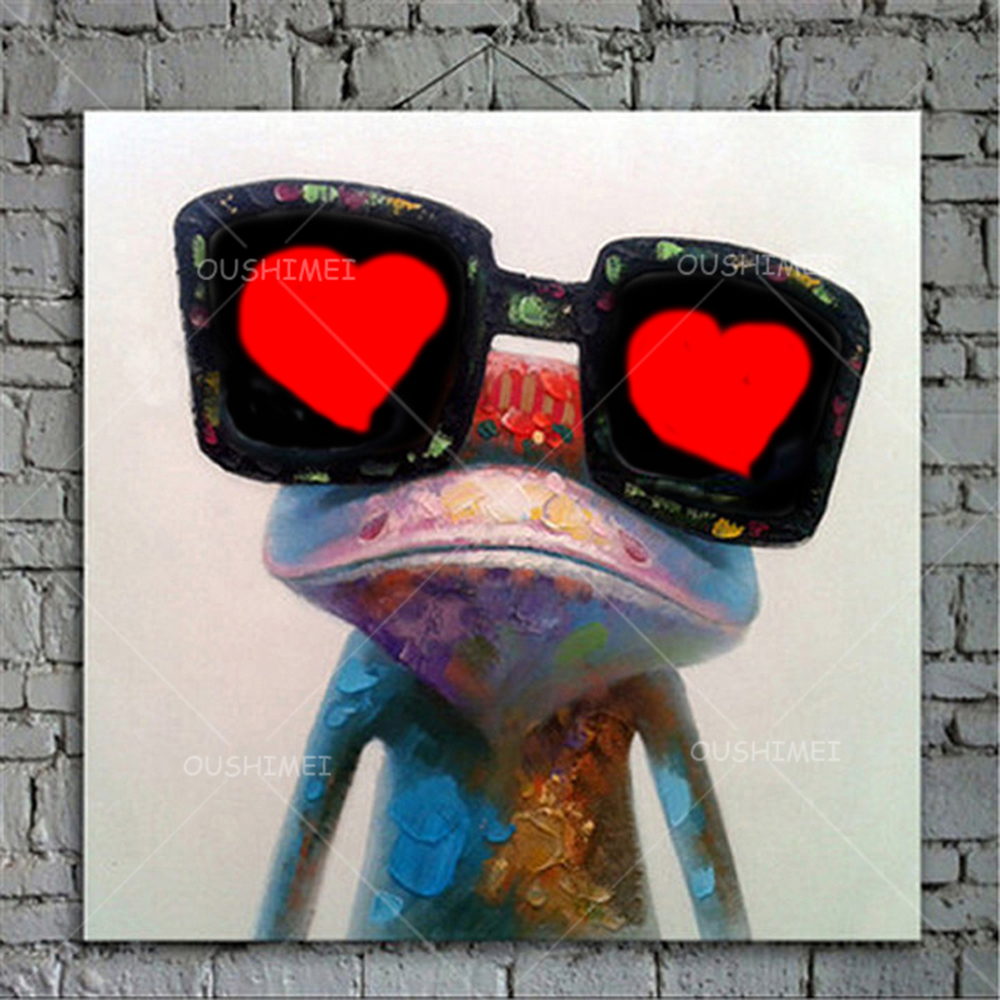 Rajzfilm állat absztrakt olajfestmény Béka szemüveget visel - Lakberendezés - Fénykép 3
