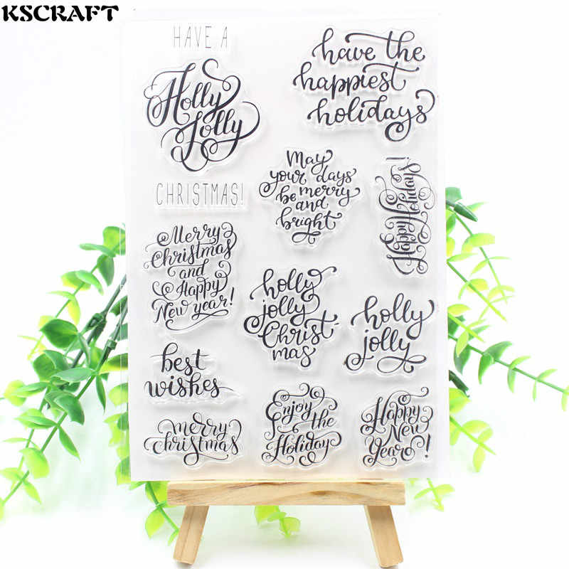 KSCRAFT Christmas Transparent Clear Silicone Stamp/Seal for DIY scrapbooking/photo album Decorative clear stamp sheets 137