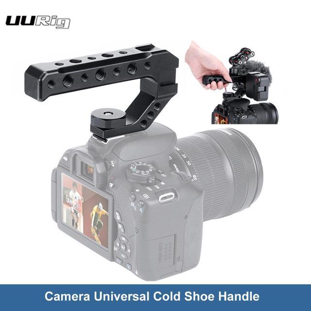 UURig R005 DSLR Camera Top Handle Grip Metallo Adattatore Scarpa Freddo di Montaggio Universale Hand Grip per Sony Nikon Canon con 1/4 3/8 Vite