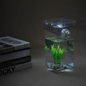 DADYPET Small Fish Tank Bowl Acrylic Aquarium Office