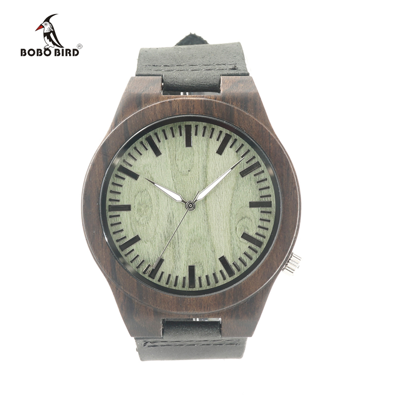 2017 BOBO BIRD Brand Watches Wood Men Wood Watch With Genuine Leather Strap Qurtz Wooden Watch Relogio Masculino C-B14 bobo bird new luxury wooden watches men and women leather quartz wood wrist watch relogio masculino timepiece best gifts c p30