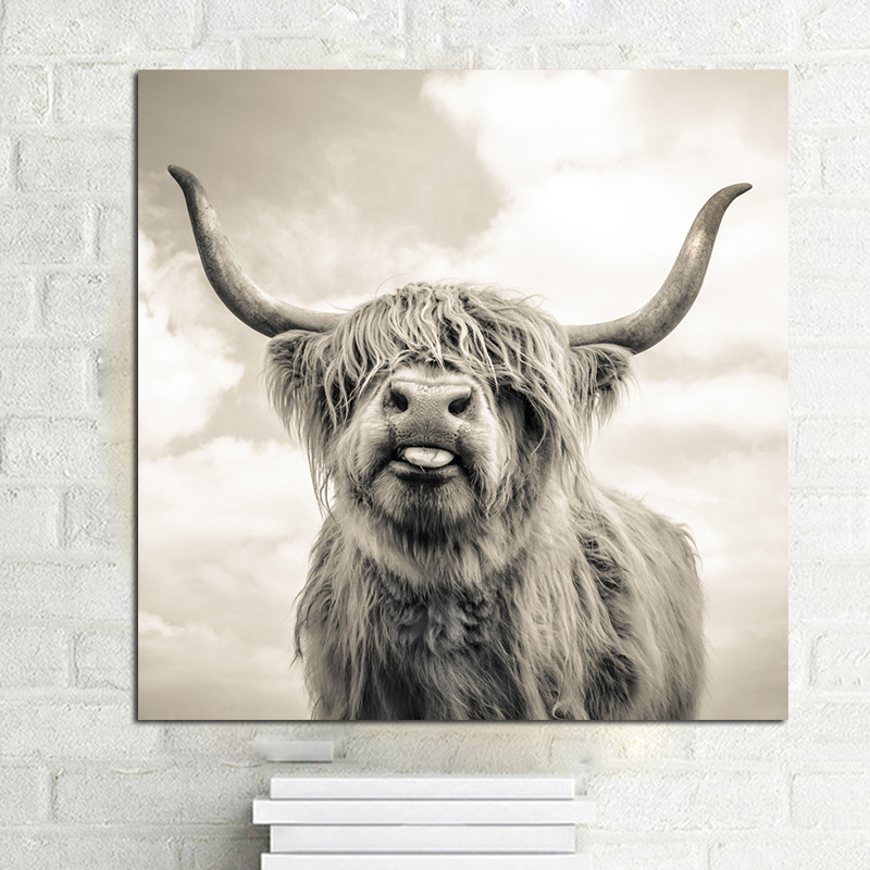 Black And White Highland Cow Canvas Art Print And Poster Canvas Painting Nursery Nordic Decoration Wall Picture For Living Room
