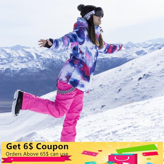 Новый лыжный костюм для женщин шпон двойной доска корейский открытый непромокаемые ветрозащитный теплый дышащий зима утолщение лыжный