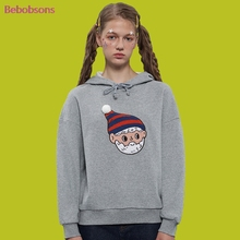 Hoodies Women Autumn Sweatshirts 2017 New Long Sleeve Female Pullover Tops Cartoon Patch Female Gray Cotton Hooded Top