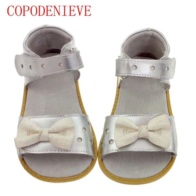 COPODENIECE Girls sandals genuine leather white pink red open toe flowers summer girls shoes kids shoes wide Children s shoes