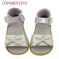 COPODENIECE Girls Sandals Genuine Leather White Pink Red Open Toe Flowers Summer Girls Shoes Kids Shoes