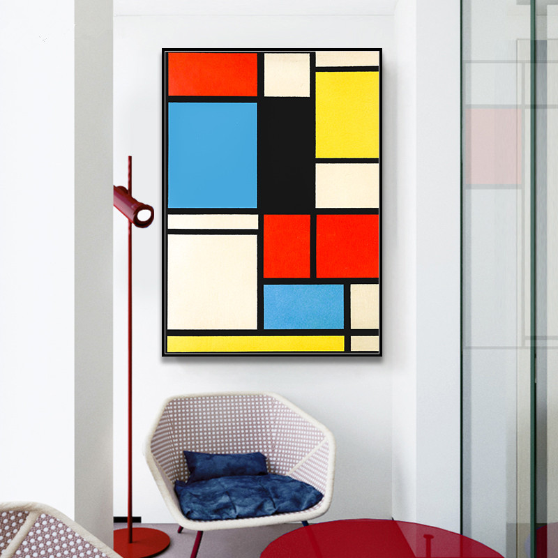 Piet Cornelies Mondrian Classic Art Geometry Line Red Blue Yellow Composition Canvas Print Painting Poster Wall Decor Home Decor