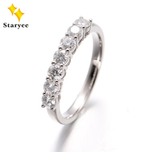 Anéis de moissanite 7 pedras clássicas, 18k branco, carrinho de ouro, colvard para sempre um diamante moissanite, faixas de casamento eternidade mulheres
