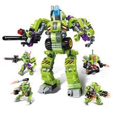 4 IN 1 Deformation Robot Pioneer Police Apocalypse mecha police men Building Blocks kit Bricks Educational Toys for Children