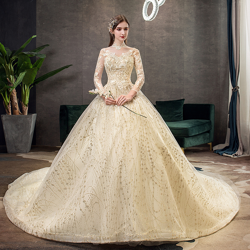 Mrs Win Gold Lace Muslim Wedding Dress With Big Train 2019 New High Neck Full Sleeve
