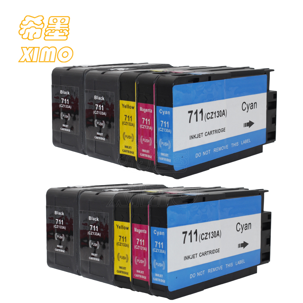 XIMO 10 Pack of Replacement Ink for HP711 4black 2cyan 2 magenta 2 yellow for DesignJet