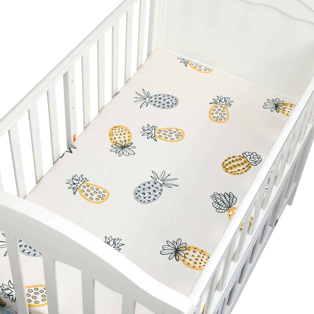 Baby Bed Sheet 100% Cotton Cartoon Soft Breathable Baby Bed Mattress Cover Crib Fitted Sheet Baby Bed Linens Newborn Cot Bedding