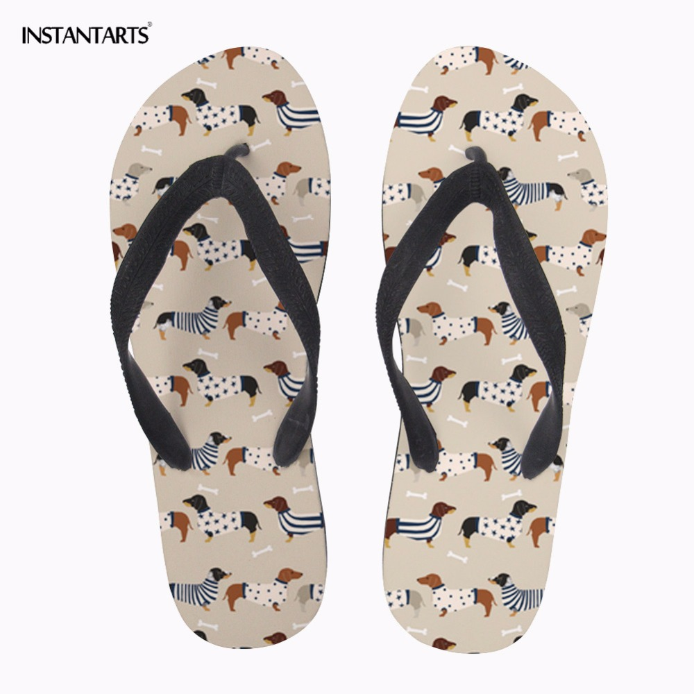 INSTANTARTS 2018 New Women Casual Summer Water Beach Slippers Shoes Cute Animal Dog Dachshund Dog Print Home Non-slip Flip Flops instantarts cute cartoon nurse print air mesh sandals women summer casual breathable slip on shoes beach slippers zapatos mujer