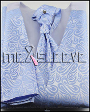 4pcs tuxedo light blue latest pattern waistcoat (vest+ascot tie+cufflinks+handkerchief)
