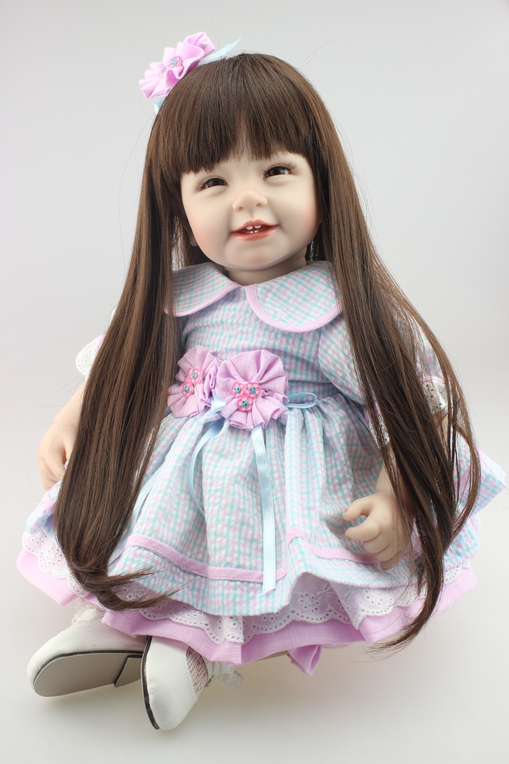 doll alive 22inch 55cm Reborn Toddler baby doll lifelike sweet girl real gentle touch uniquebaby doll glue wig long wig for kids
