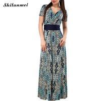 Shilanmei Brand Women Long Dress Hot Sale 2017 Spring Summer Russian Style Print Dresses Long Floor