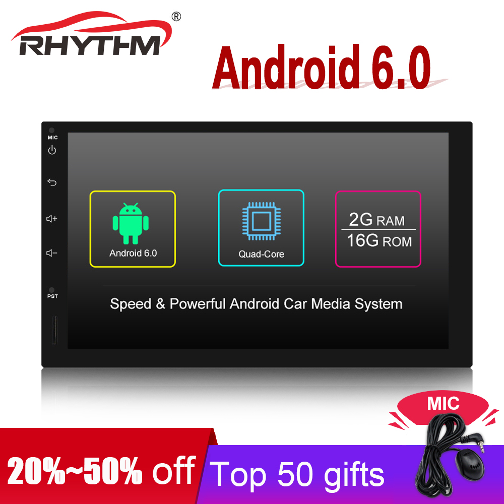 Quad Core Android 6.0 2din car radio auto car stereo multimedia player universal GPS Navigation wifi 1024*600 2G+16G Mirror Link