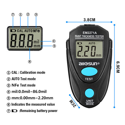 all sun all-sun EM2271 EM2271A Digital Mini Automobile Thickness Gauge Car Paint Tester Thickness Coating Meter Ship From Russia Karachi