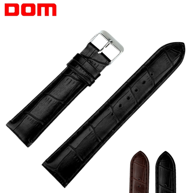 DOM Watch Bracelet Belt Black Brown Watchbands Faux Leather Strap Watch Band Men