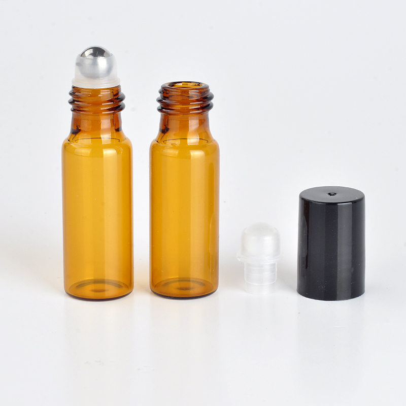 10Pieces/Lot 5 ML Roll On Portable Amber Glass Refillable Perfume Bottle Empty Essential Oil Case With Plastic Cap