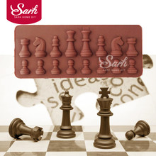 International Chess King Queen Knight Rook Pawn Bishop Single-Sided Fondant Cake Chocolate Molds for Kitchen Baking C082