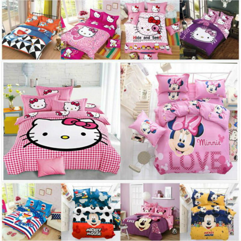 Bedding Set Star Trek Cartoon Cute Cat Mouse 4/3pcs Duvet Cover Sets Soft Polyester Flat Bed Sheet Set Pillowcase Home Textile