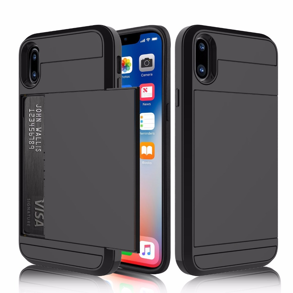 Slide Card Slot Holder Phone Case for Apple iPhone X Cases Hybrid Soft Silicone TPU Hard Plastic Armor Back Cover Coque Fundas visa