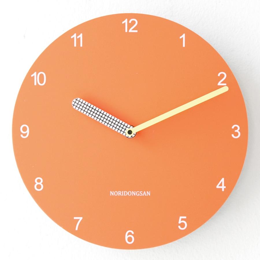 European Nordic Orange Wall Clock Modern Minimalist Creative Mute Bedroom Living Room Klok Decoration Watch 50w066