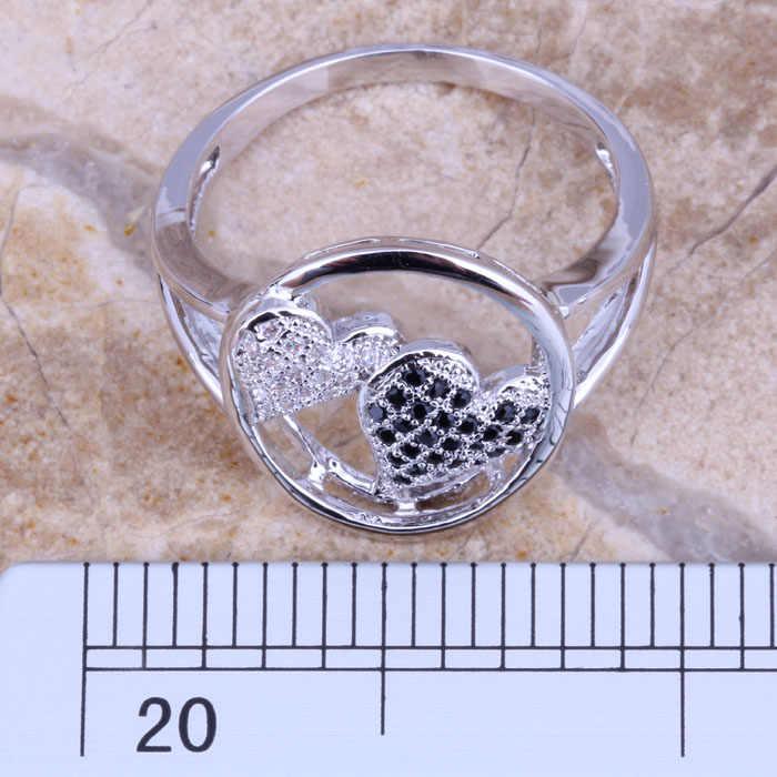 หัวใจหัวใจที่สวยหรูสีดำCubic Z IrconiaสีขาวCZเงินแหวนผู้หญิงขนาด6/8/9 E497