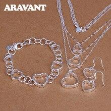 hot deal buy fashion women jewelry sets 925 silver jewelry romantic love heart necklace earrings bracelet wedding jewelry sets