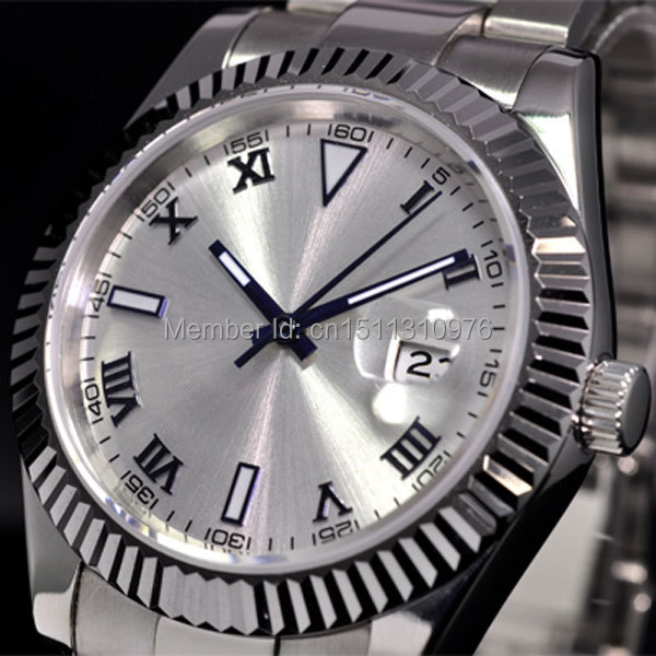 parnis white dial vintage automatic movement mens watch P12 40mm parnis white dial vintage automatic movement mens watch p25