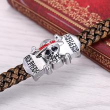 One Piece Silver Alloy Bracelets Leather Woven Punk Bangle