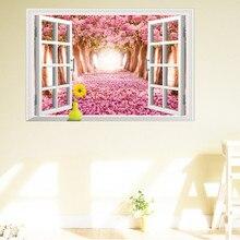 pink romantic Cherry Blossoms tree 3D window view wall sticker beautiful SUKURA landscape scenery home decor wedding decoration