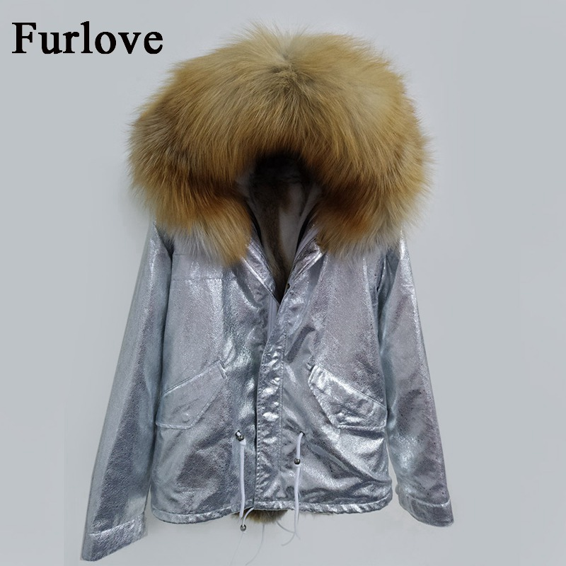 Women Jackets Silver Thick Warm Parkas Natural Raccoon Fur Collar Hooded Parka Real Rabbit Fur Coat Casual Winter Jacket 2017 2017 winter new clothes to overcome the coat of women in the long reed rabbit hair fur fur coat fox raccoon fur collar