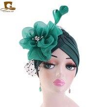 Women Church Derby Fascinator turban cap Hair Accessories Bridal Tea Party Wedding Hat Chemo Beanie