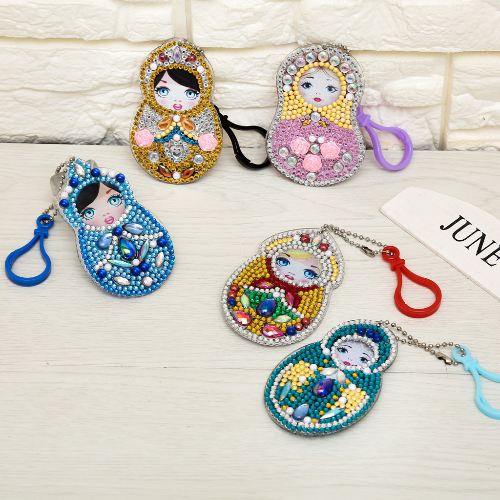 DIY Full Special Shaped Diamond Painting Doll Russia Cartoon Keyring Keychains Cross Stitch Embroidery Women Bag Key Chain in Diamond Painting Cross Stitch from Home Garden
